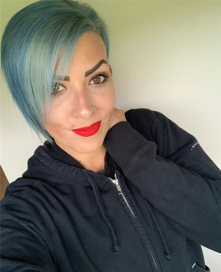 Side Parting Blue Pixie 2