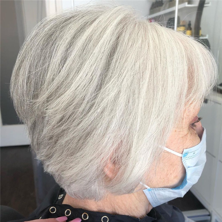 Silver Layers and Bangs