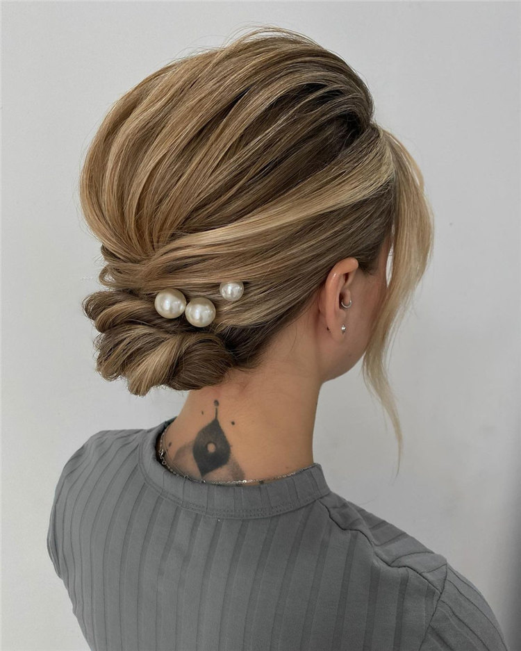 Soft Straight Texture Low Updo