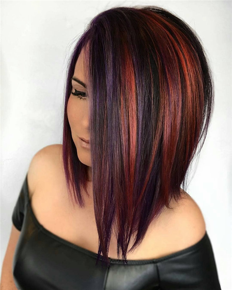 Black Angled Bob with Red Highlights