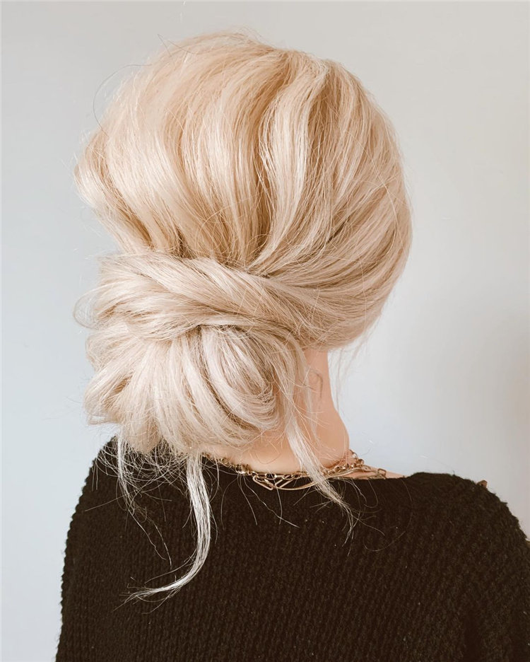Blonde Low Messy Bun