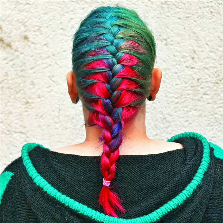 Blue and Red French Braids