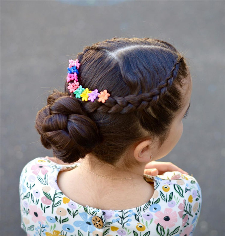 Braided Updo with Flower Clips