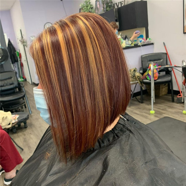 Red and Blonde Angled Bob