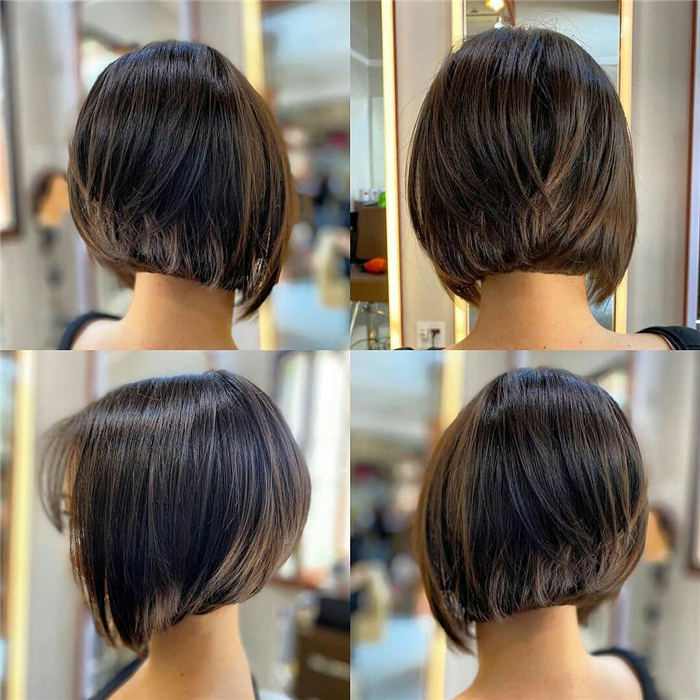 Back View Of Smooth Short Inverted Bob