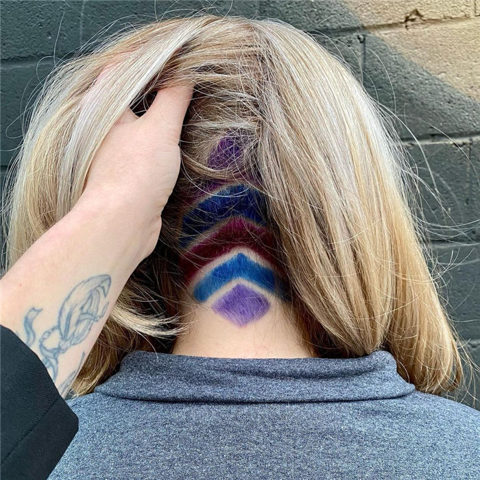 Blonde Hair with Purple and Blue Undercut