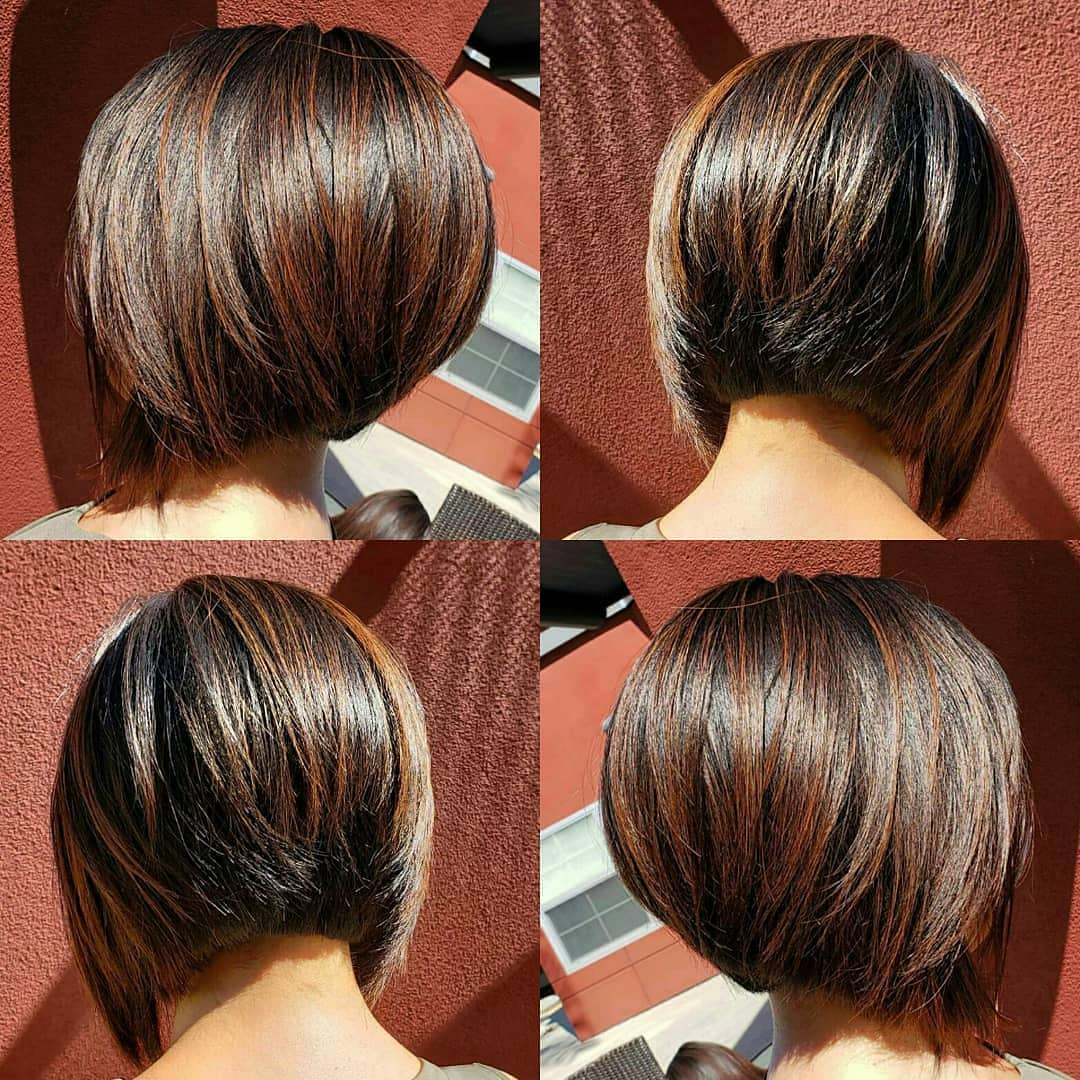 Inverted Bob Hairstyles with Brown Highlights