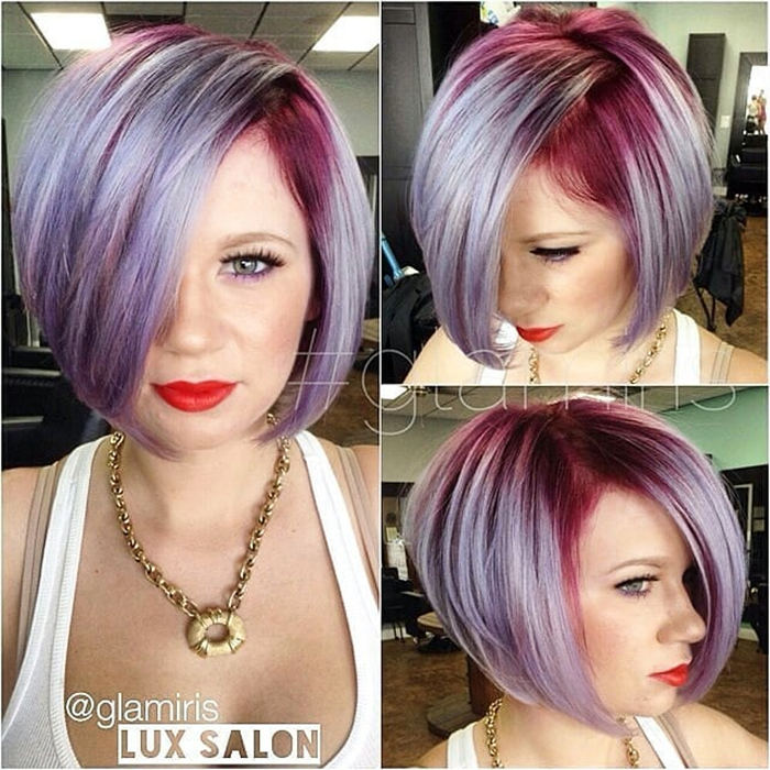Short Inverted Bob with Red Highlights