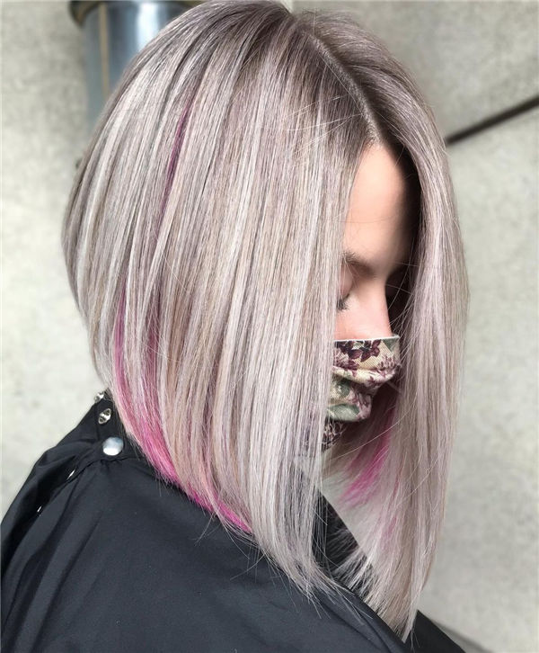 Blonde Angled Bob with Pink Highlights