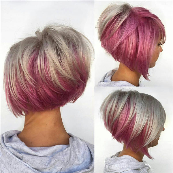 Blonde and Pink Inverted Bob