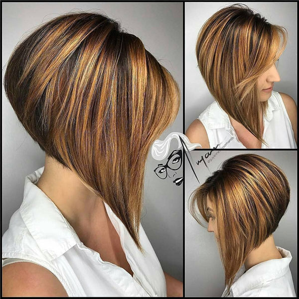 Golden Angled Bob with Shadow Roots