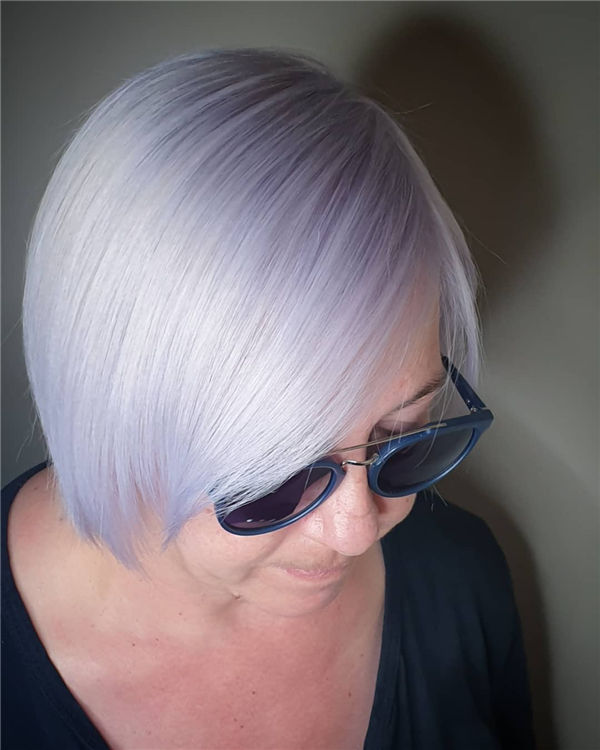 Short Silver Hair with Purple Lowlights