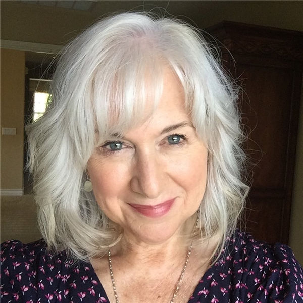 Silver Curly Haircut For Older Women