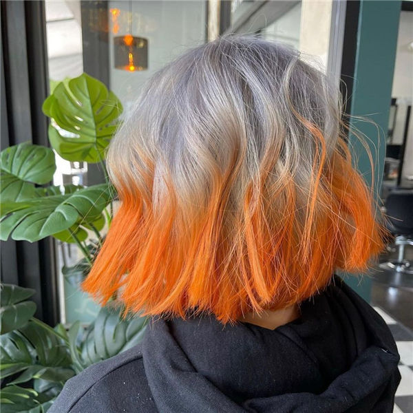 Silver and Orange Bob Hairstyle