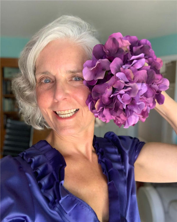 Wavy Silver Hair with Purple Flower