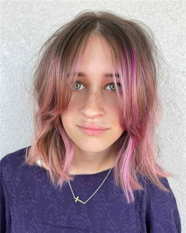 Cute Shaggy Cut with Pink Highlights