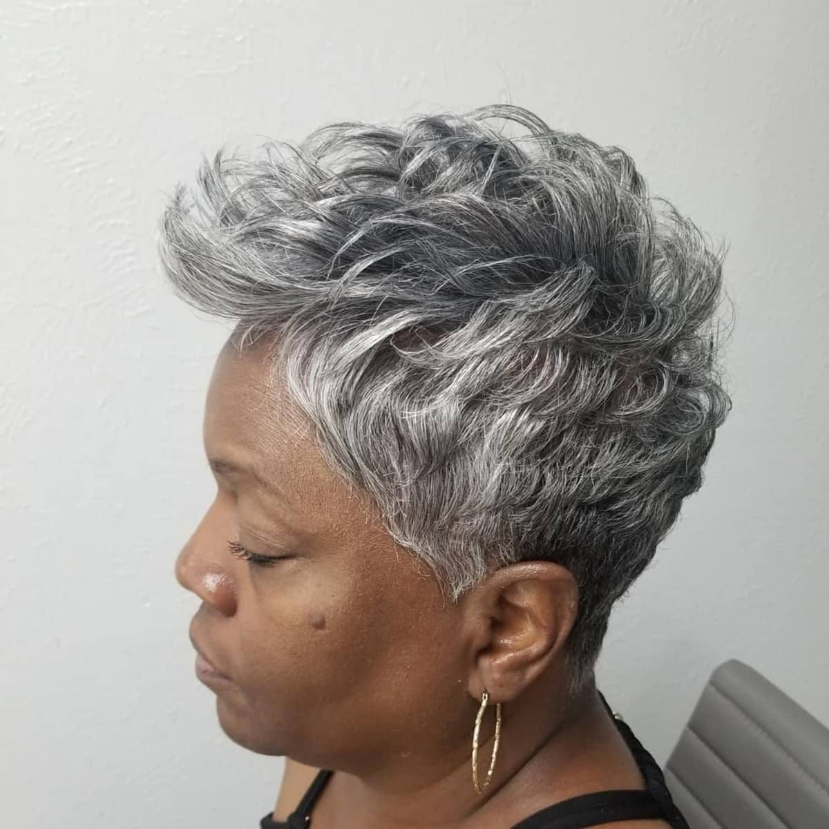 Grey Pixie Cut for Over 50 Black Women