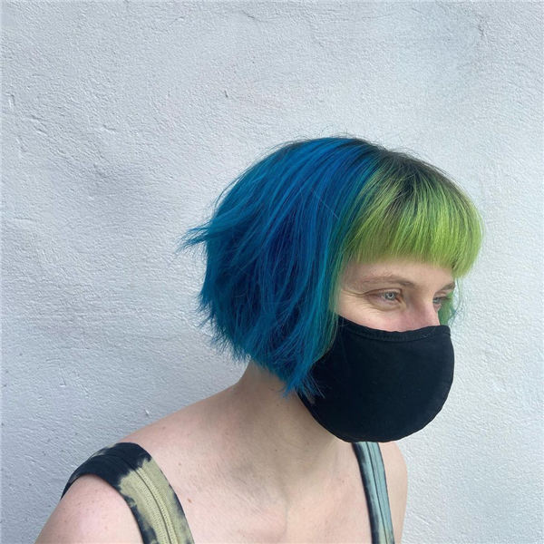 Blue and Green Textured Bob