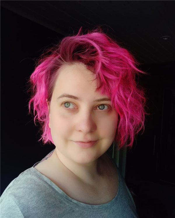 Bright Pink Hair with Shadow Root