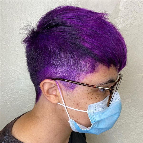 Short Hairstyle with Purple Color