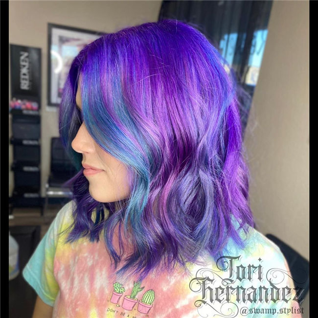 Purple to Blue Ombre Short Hair