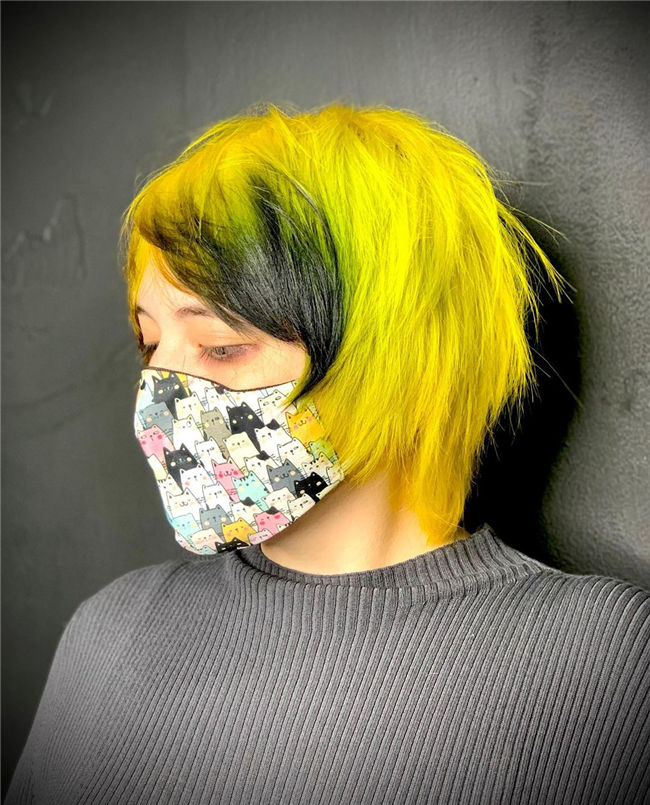 Yellow to Black Ombre Short Hair